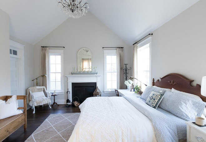 Eclectic Home Tour of Green Spruce Designs - love the fireplace in the bedroom