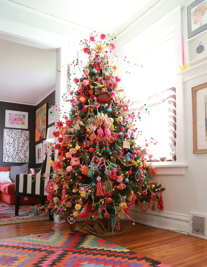 Christmas Eclectic Home Tour - Aunt Peaches - love this colorful tree filled with handmade ornaments
