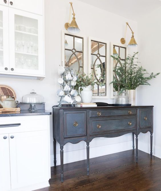 Eclectic Home Tour of Green Spruce Designs - love this antique sideboard given a fresh coat of blue paint and the brass sconces