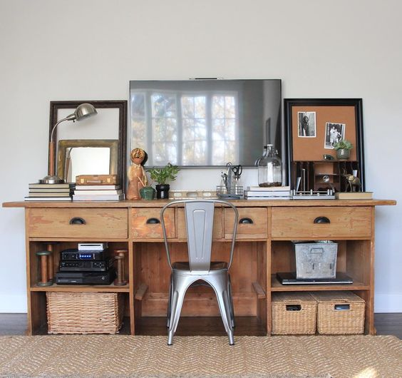Eclectic Home Tour of Green Spruce Designs - antique cabinet becomes a desk