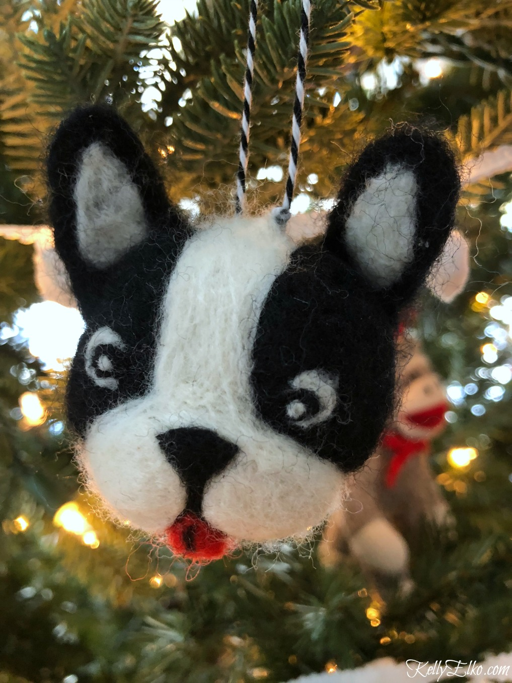 Boston Terrier Christmas ornament kellyelko.com
