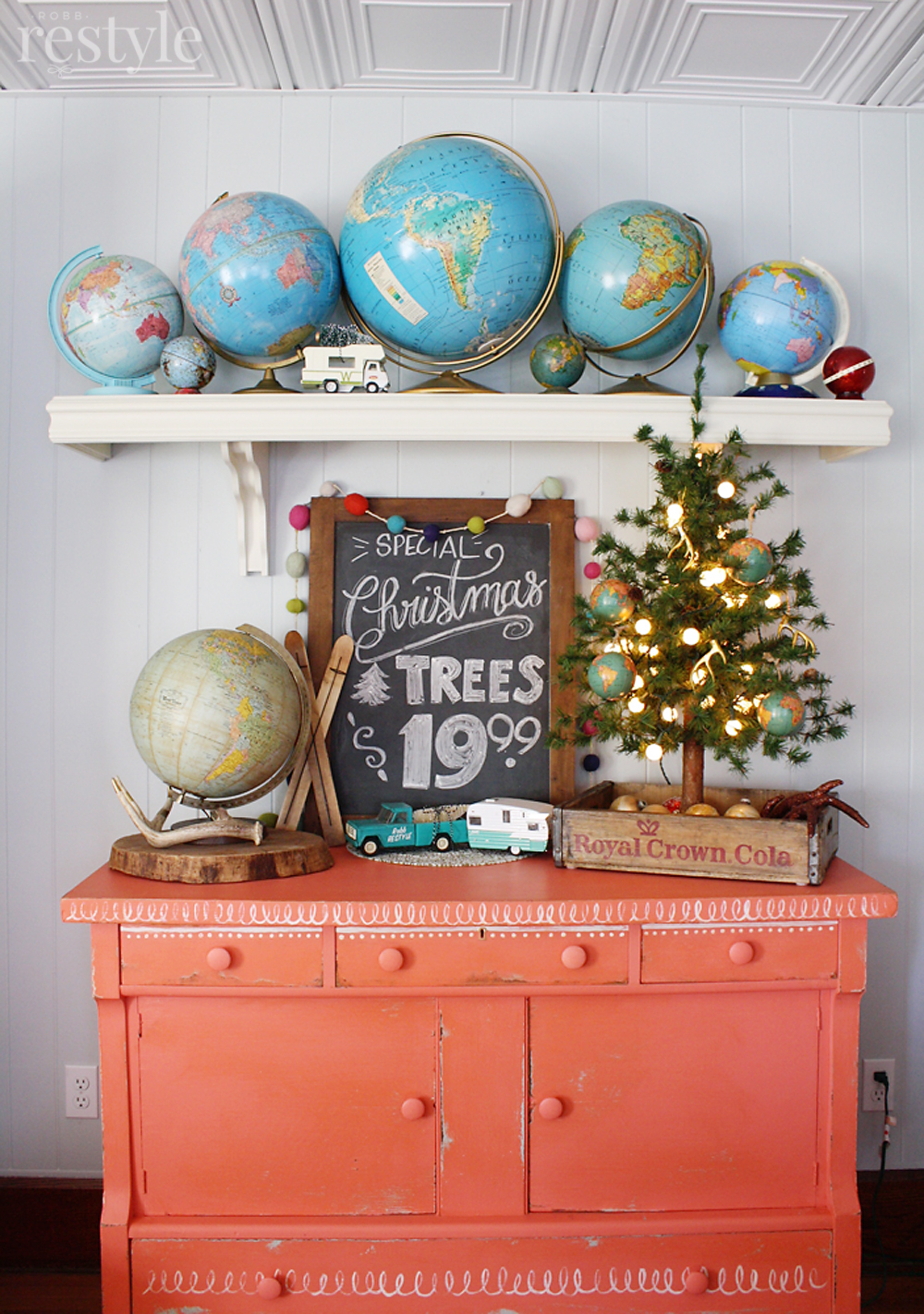 Eclectic Christmas Home Tour - love the vintage globe collection