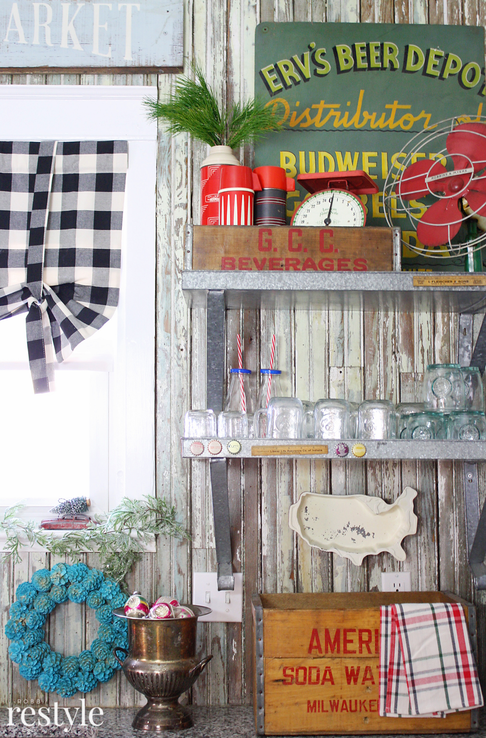 Eclectic Christmas Home Tour - love the galvanized shelves for displaying Christmas collections