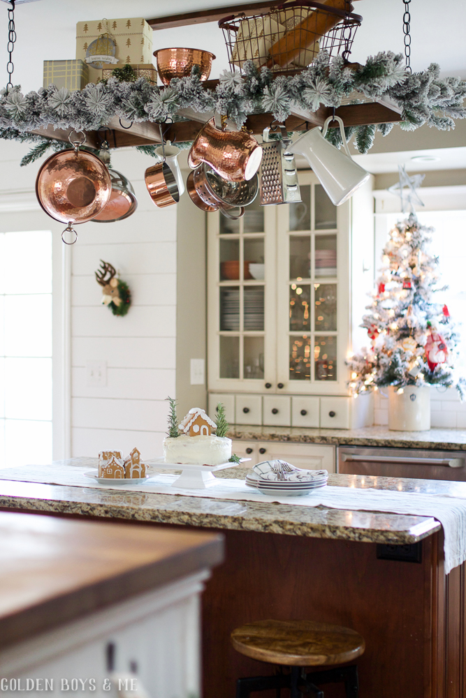Creative Christmas Decorating Ideas - add garland to a pot rack