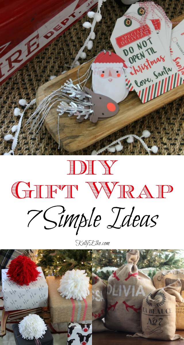 DIY Creative Gift Wrap Ideas - 7 simple and unique ways to wrap gifts kellyelko.com