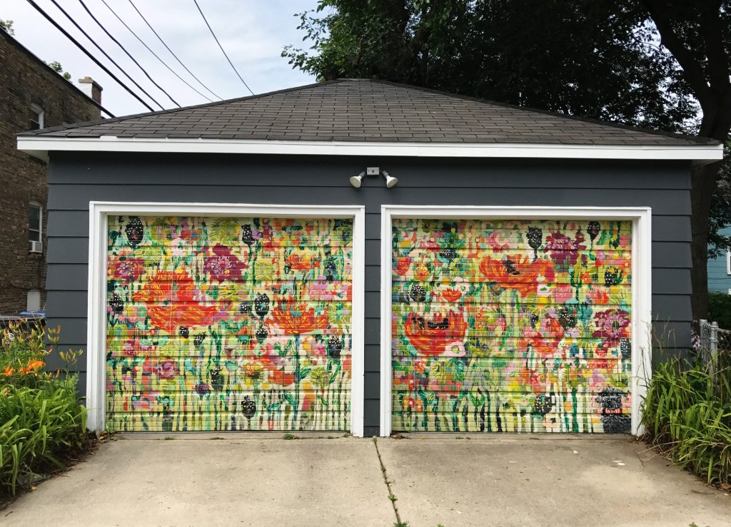 Love this floral mural on garage doors