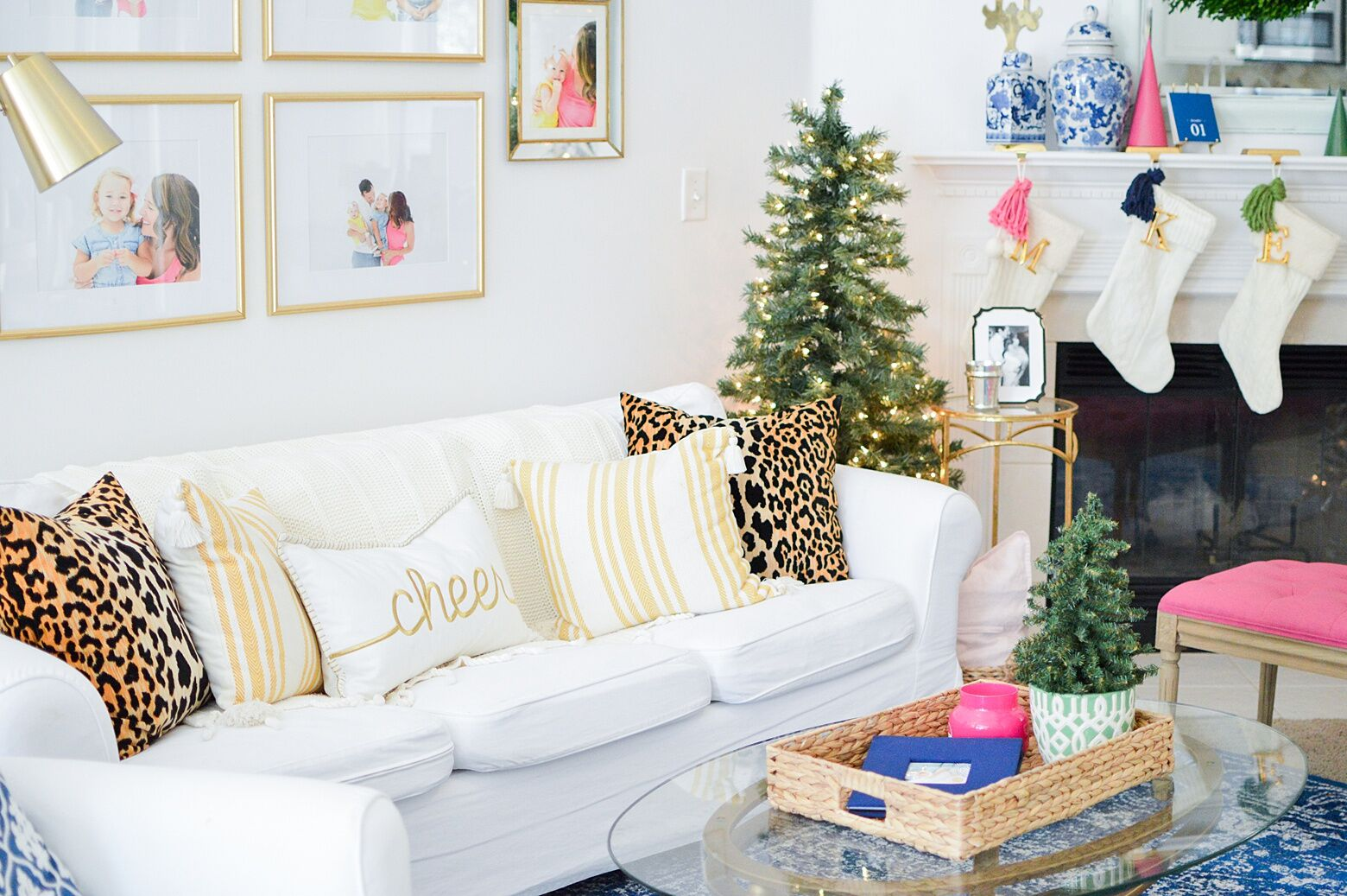 Christmas Eclectic Home Tour - love the pink and blue color scheme in this cozy living room