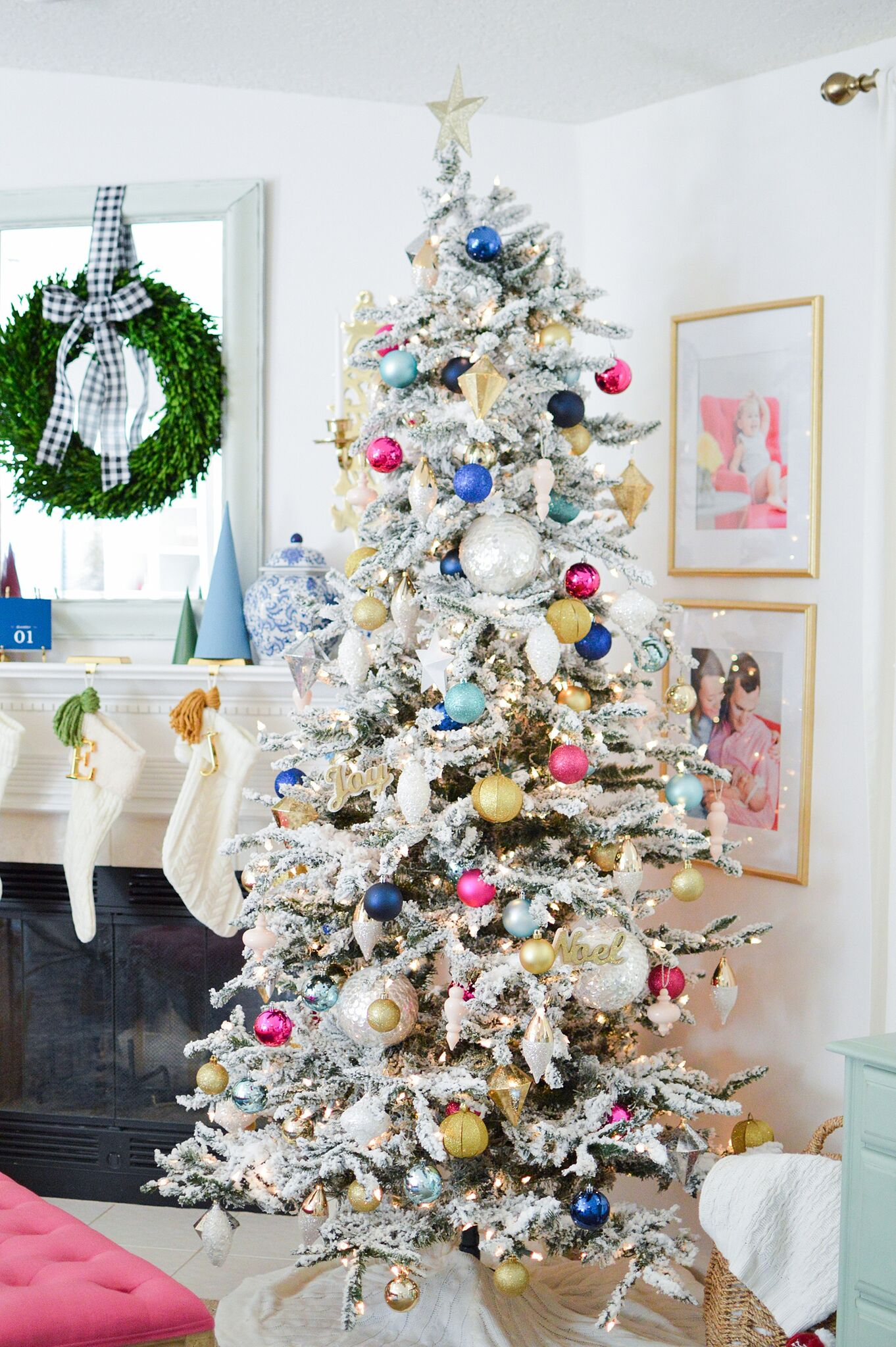 Christmas Eclectic Home Tour - love this colorful flocked Christmas tree