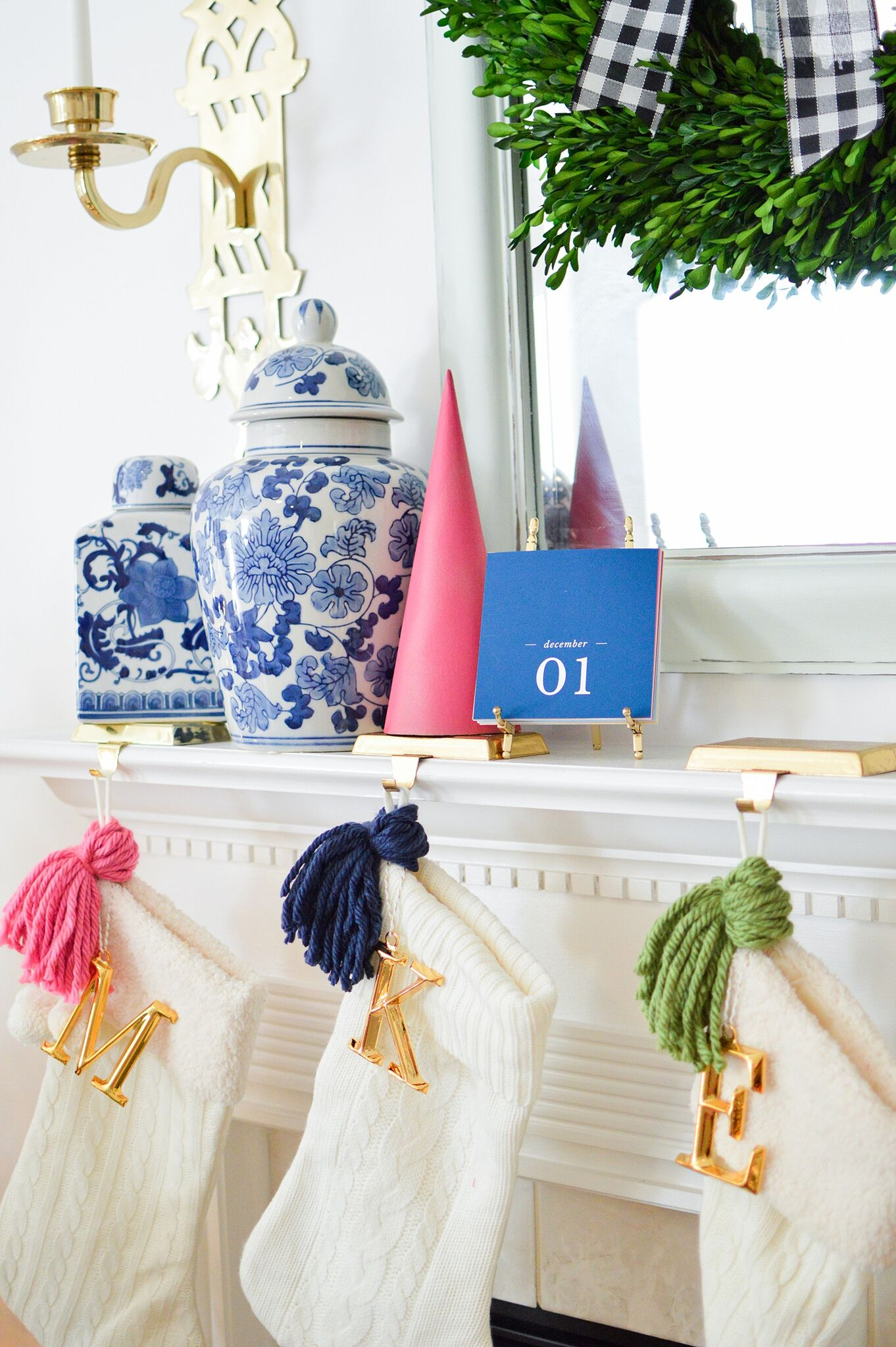 Christmas Eclectic Home Tour - love the colorful tassels on each stocking
