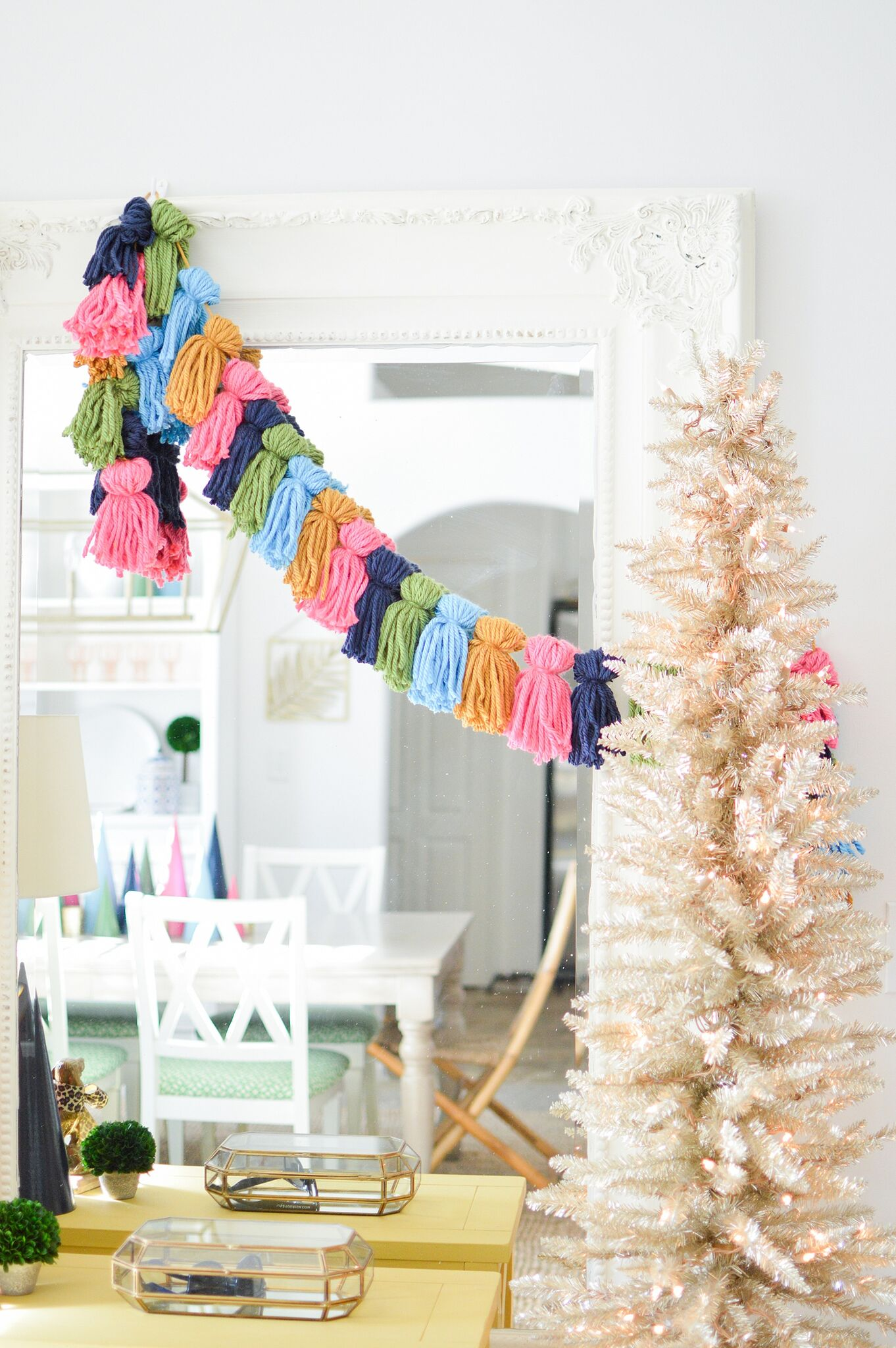 Christmas Eclectic Home Tour - love this DIY tassel garland
