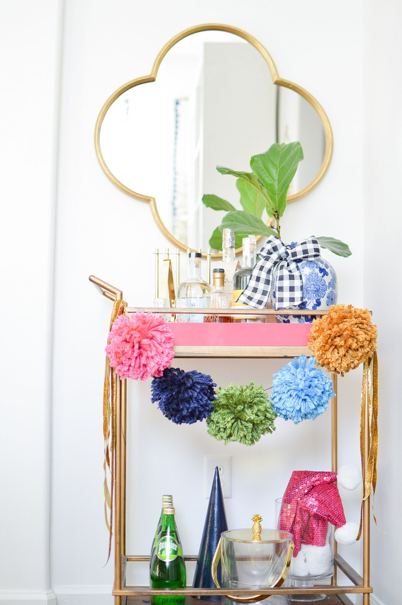 Christmas Eclectic Home Tour - love this colorful DIY pom pom garland