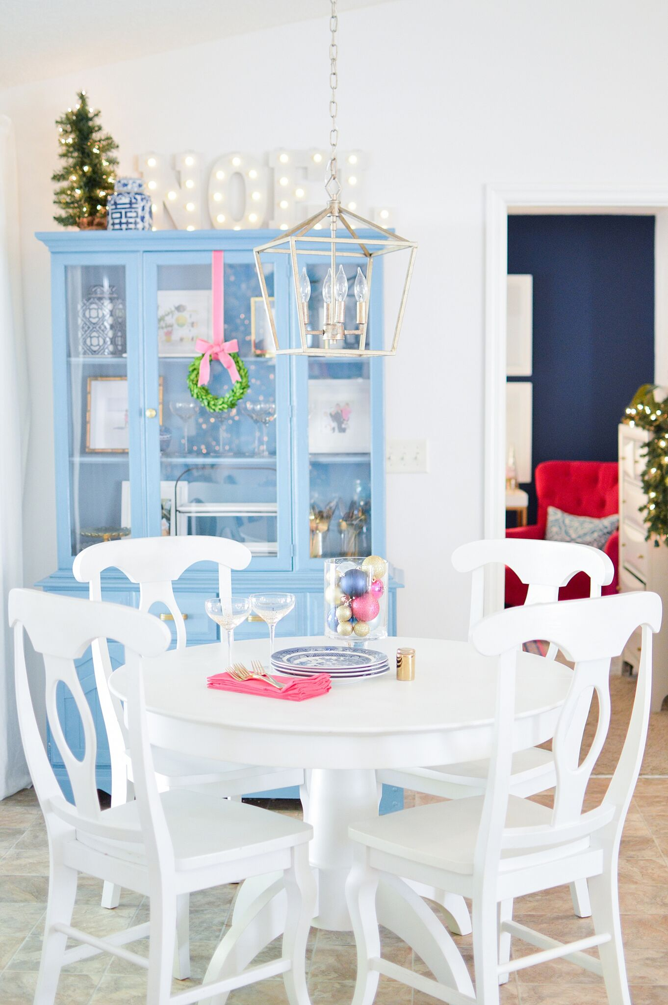 Christmas Eclectic Home Tour - love this blue hutch