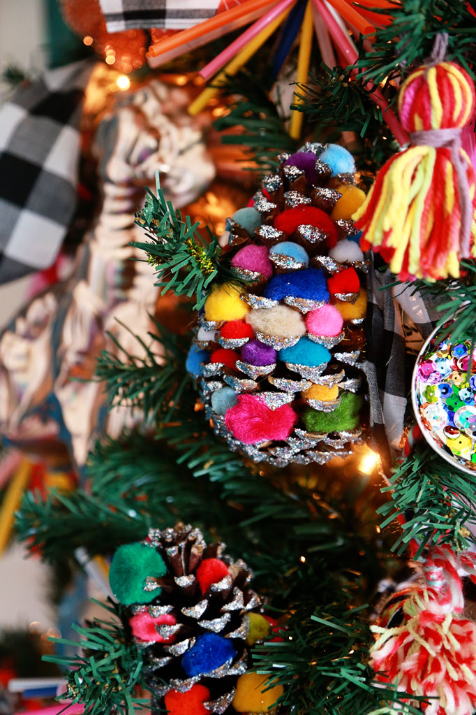 Christmas Home Tour - love this pom pom pine cone ornaments