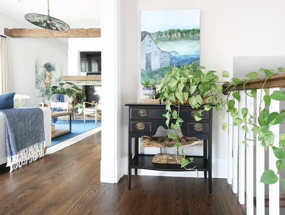 Eclectic Home Tour of Green Spruce Designs - plants add personality to any room