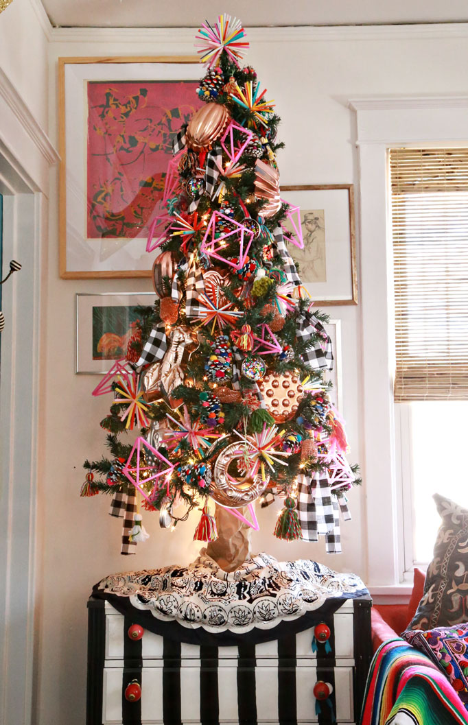 Christmas Home Tour - love this colorful tree with copper kitchen pan ornaments