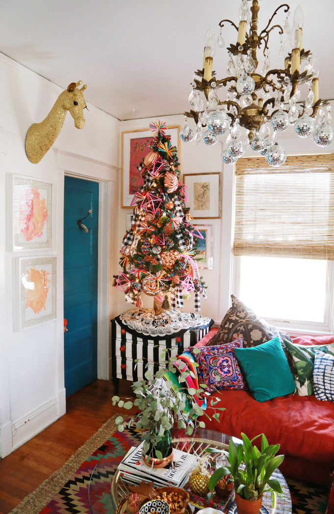 Christmas Home Tour - colorful tree with handmade ornaments