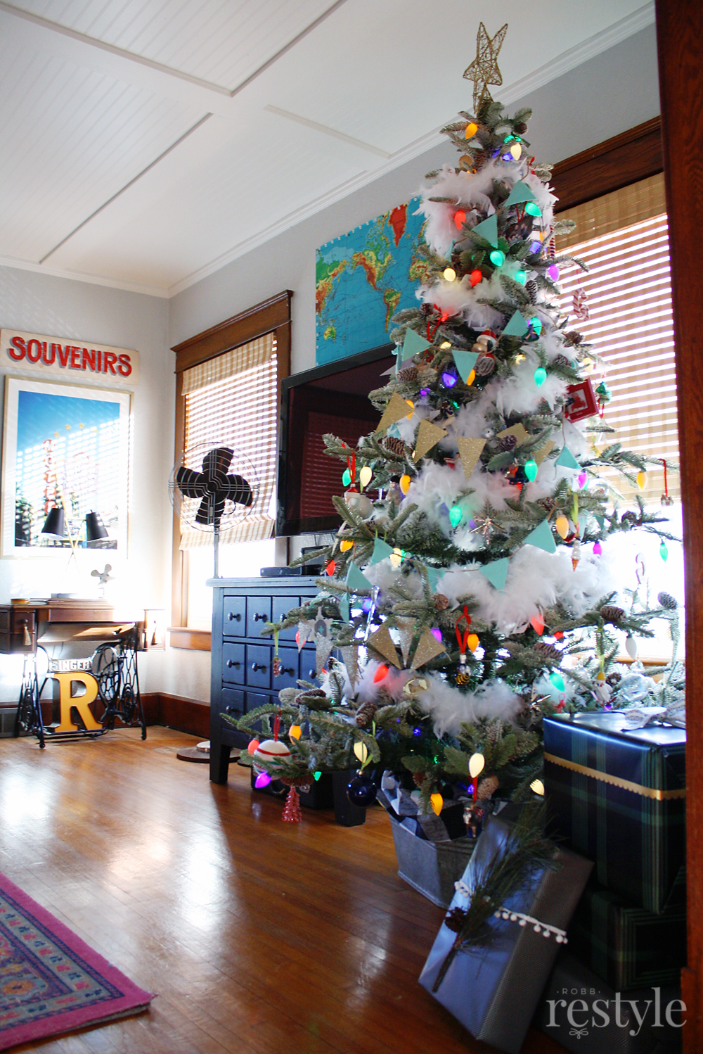 Eclectic Christmas Home Tour - love the Christmas tree with colorful vintage string lights
