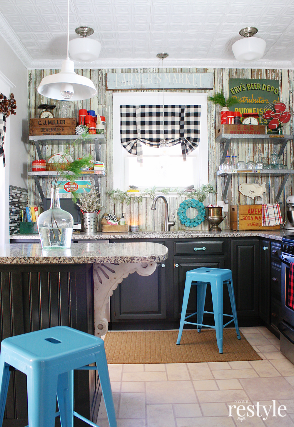Eclectic Christmas Home Tour - love this colorful, vintage filled kitchen and the open galvanized shelves