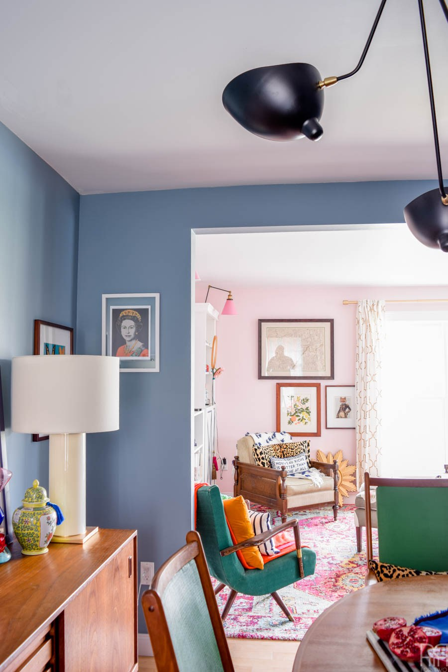Eclectic Home Tour of PMQ for Two - get tons of renter friendly decorating and DIY ideas - love this eclectic, colorful home