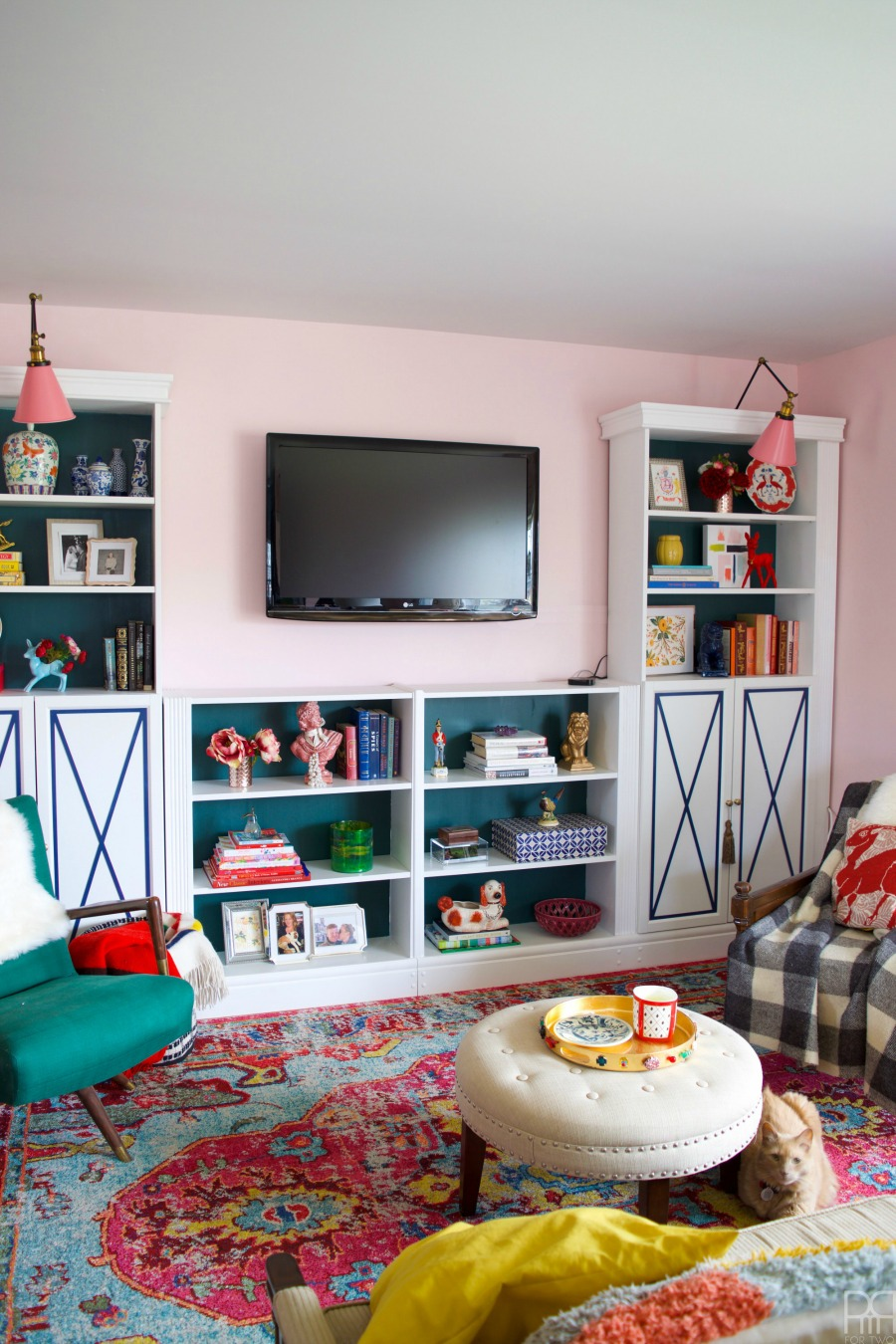 Eclectic Home Tour of PMQ for Two - get tons of renter friendly decorating and DIY ideas like how to make cheap bookcases look like custom built ins