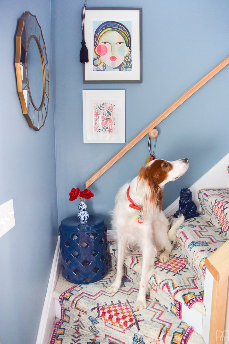 Eclectic Home Tour of PMQ for Two - get tons of renter friendly decorating and DIY ideas including this DIY stair runner