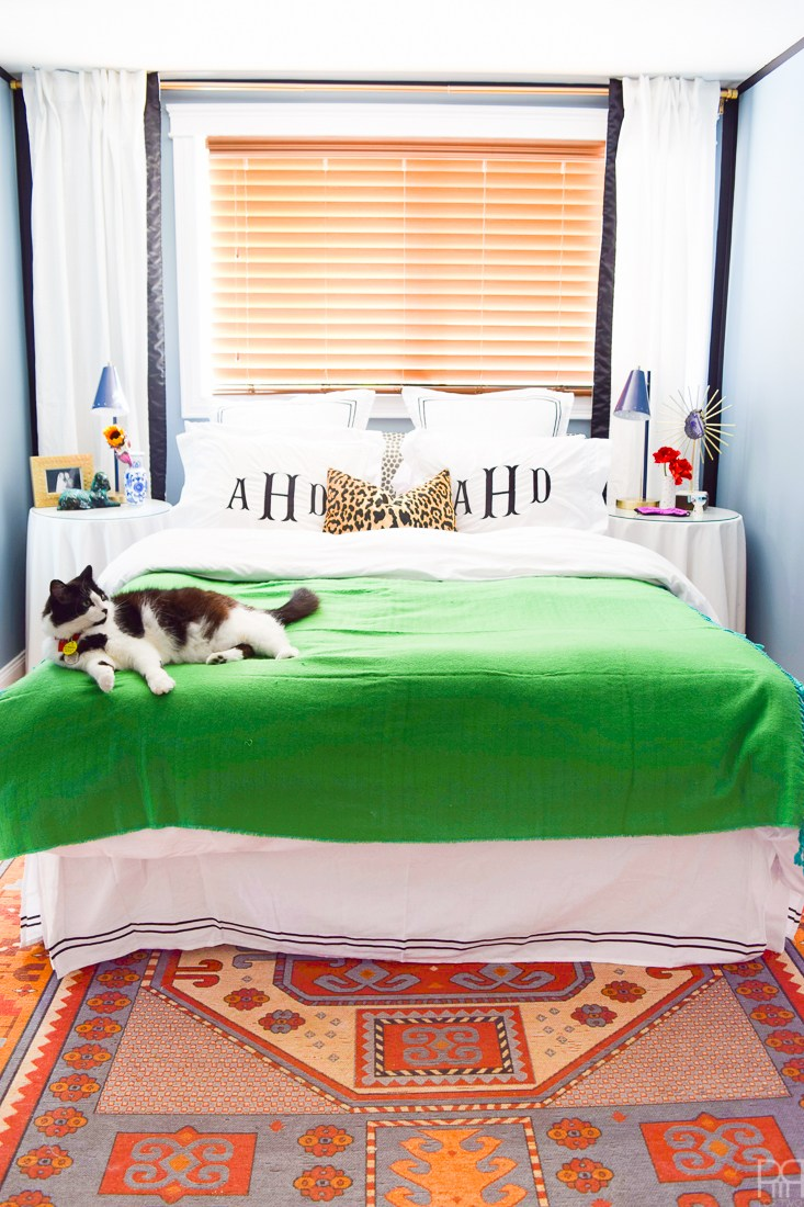 Eclectic Home Tour of PMQ for Two - get tons of renter friendly decorating and DIY ideas like how to disguise an off center window in the bedroom