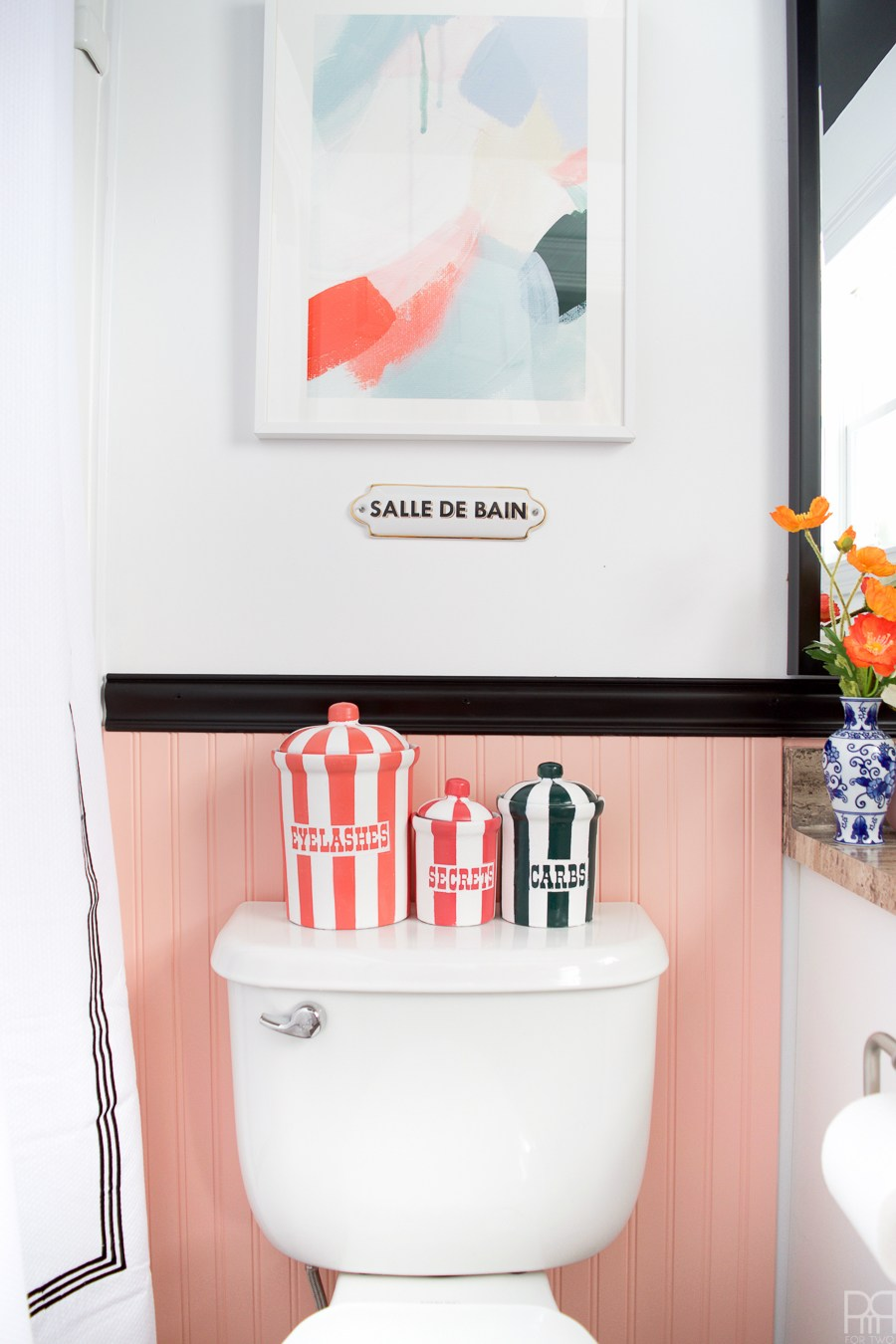 Eclectic Home Tour of PMQ for Two - get tons of renter friendly decorating and DIY ideas including these DIY knockoff Jonathan Adler canisters