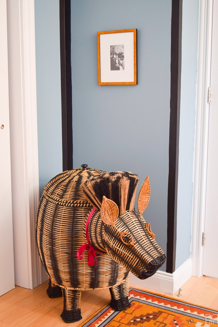 Eclectic Home Tour of PMQ for Two - get tons of renter friendly decorating and DIY ideas like adding unique accessories like this zebra hamper for a one of a kind look