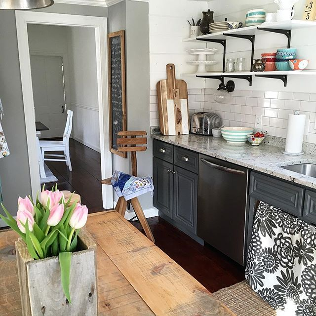 Eclectic Home Tour of Liv and Grace Restored - love the gray lower cabinets paired with simple open shelves kellyelko.com