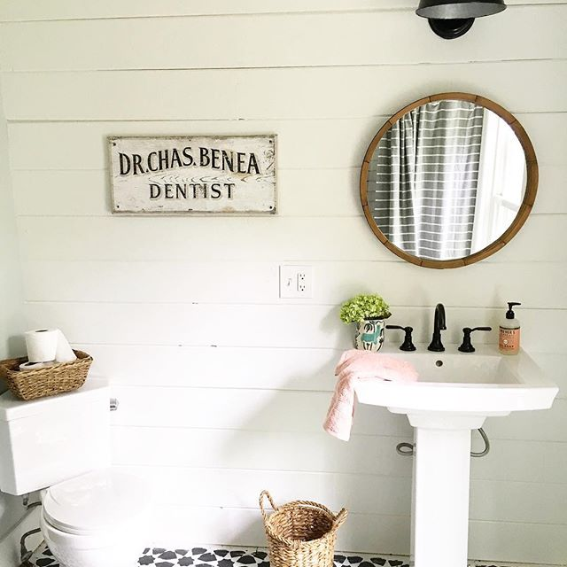 Eclectic Home Tour of Liv and Grace Restored - love this farmhouse bathroom with shiplap walls kellyelko.com