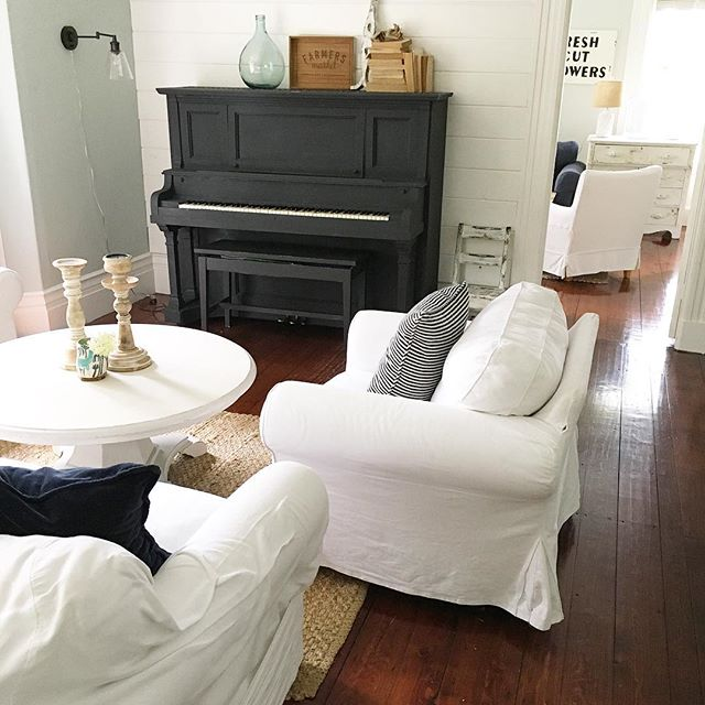 Eclectic Home Tour of Liv and Grace Restored - love the chalk paint upright piano in this cozy living room kellyelko.com