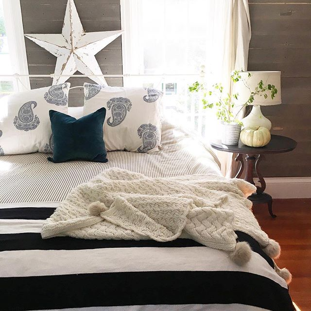 Eclectic Home Tour of Liv and Grace Restored - cozy master bedroom with shiplap walls kellyelko.com