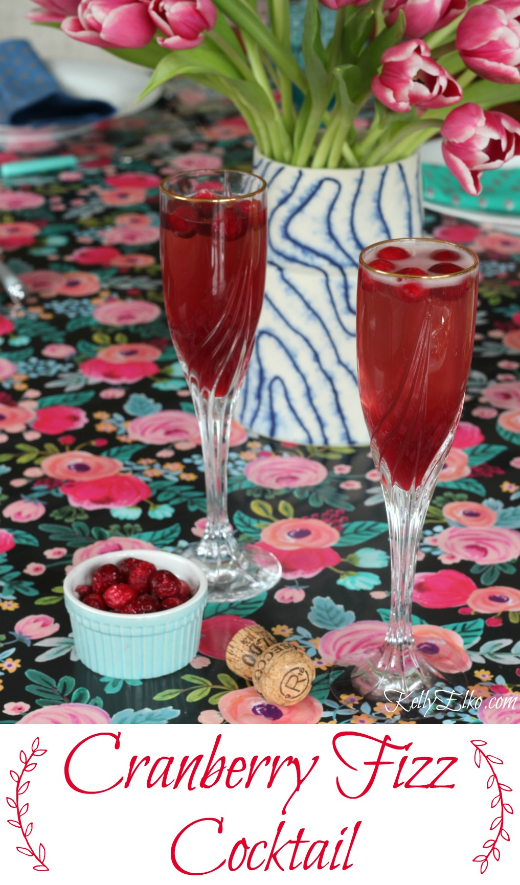 Cranberry Prosecco Cocktail - the perfect blend of sweet, tart and bubbly! Cheers kellyelko.com #cocktails #cocktailrecipes #prosecco
