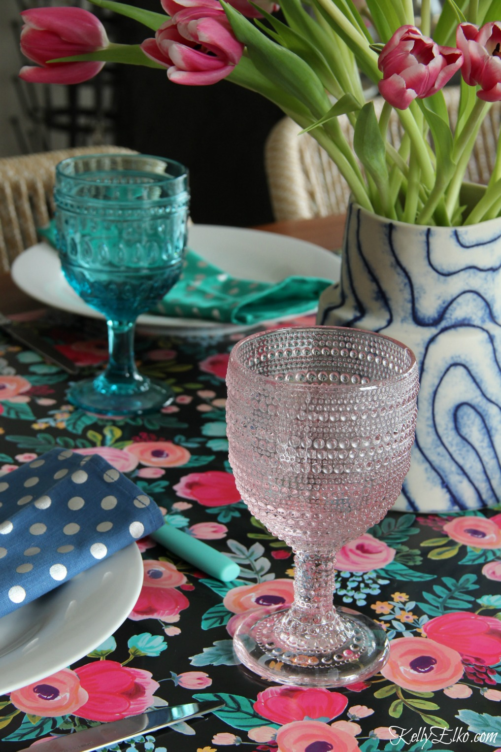 Spring table in blues and pinks - love the floral table runner kellyelko.com