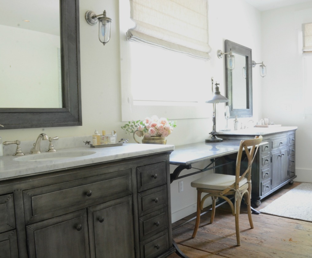 Eclectic Home Tour of Sanctuary Home - welcome to Crow Hollow Ranch. This 500 acre property is complete with farmhouse, guest house and rustic cabin kellyelko.com #hometour #kitchen #rusticdecor #barnwood #whitekitchen #homedecor #bathroom #masterbathroom