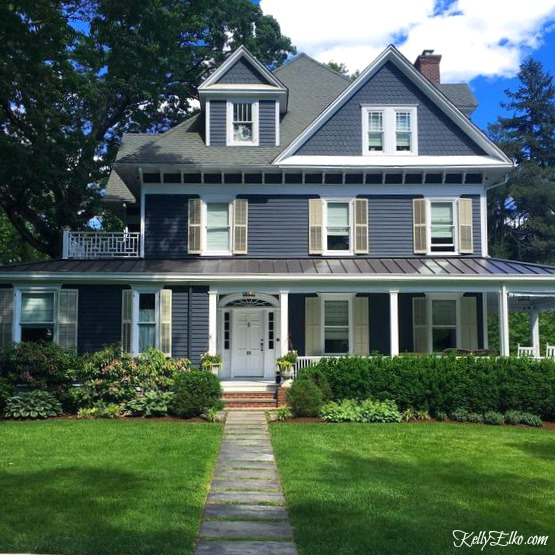 Blue House Exteriors Go Bold With Exterior Paint Like This Dark White Trim