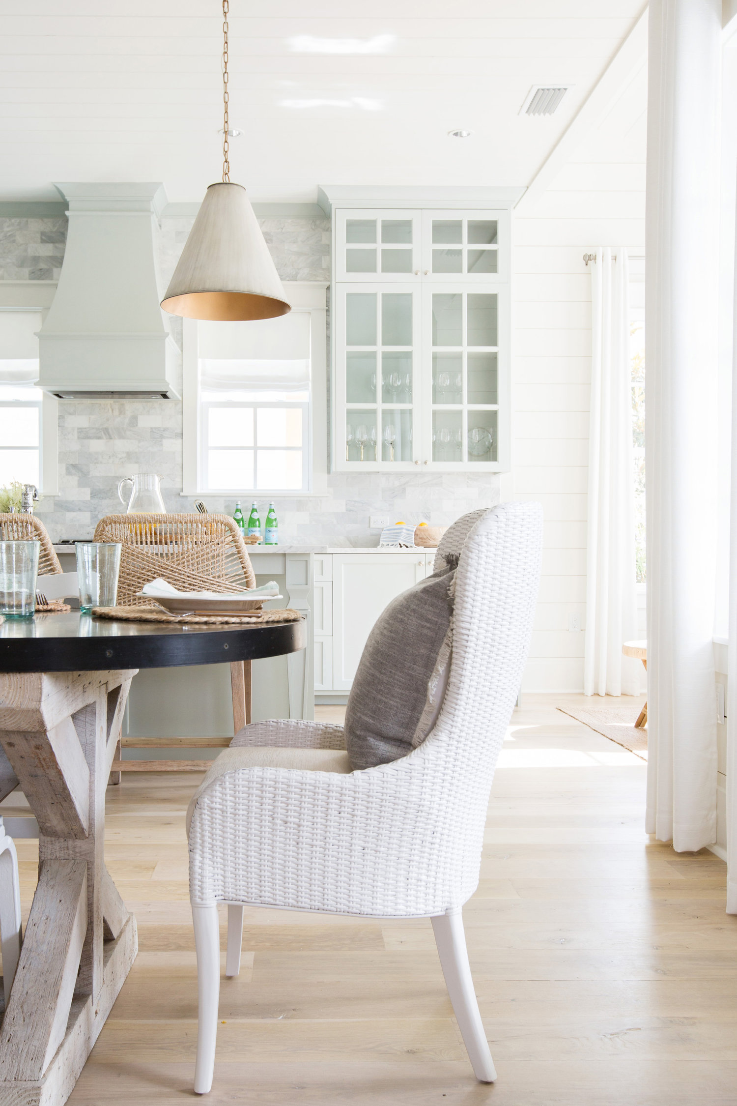 Love this kitchen table and mismatched chairs kellyelko.com #kitchens #lighting #interiors #decorate