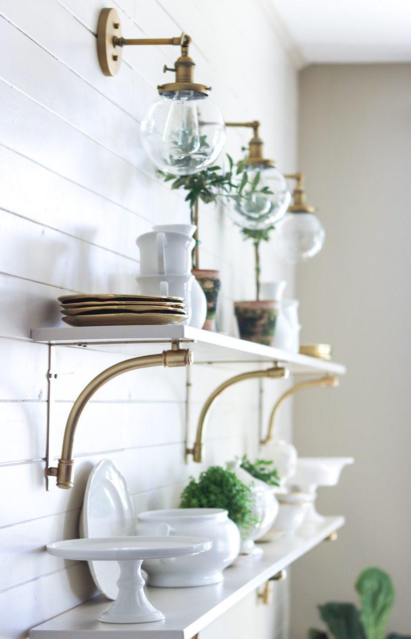 DIY open kitchen shelves kellyelko.com #lighting #kitchendecor #diyideas #openshelves