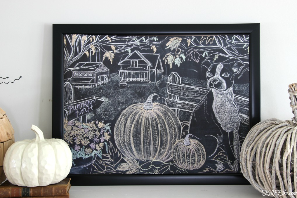 Free Fall Printable Chalkboard Farmhouse Art - love this original art turned into a free printable with pumpkin patch, farmhouse, barn falling leaves and a cute dog! kellyelko.com #printable #freeprintables #fallprintable #chalkboardart #chalkboard #falldecor #farmhouse #farmhousedecor