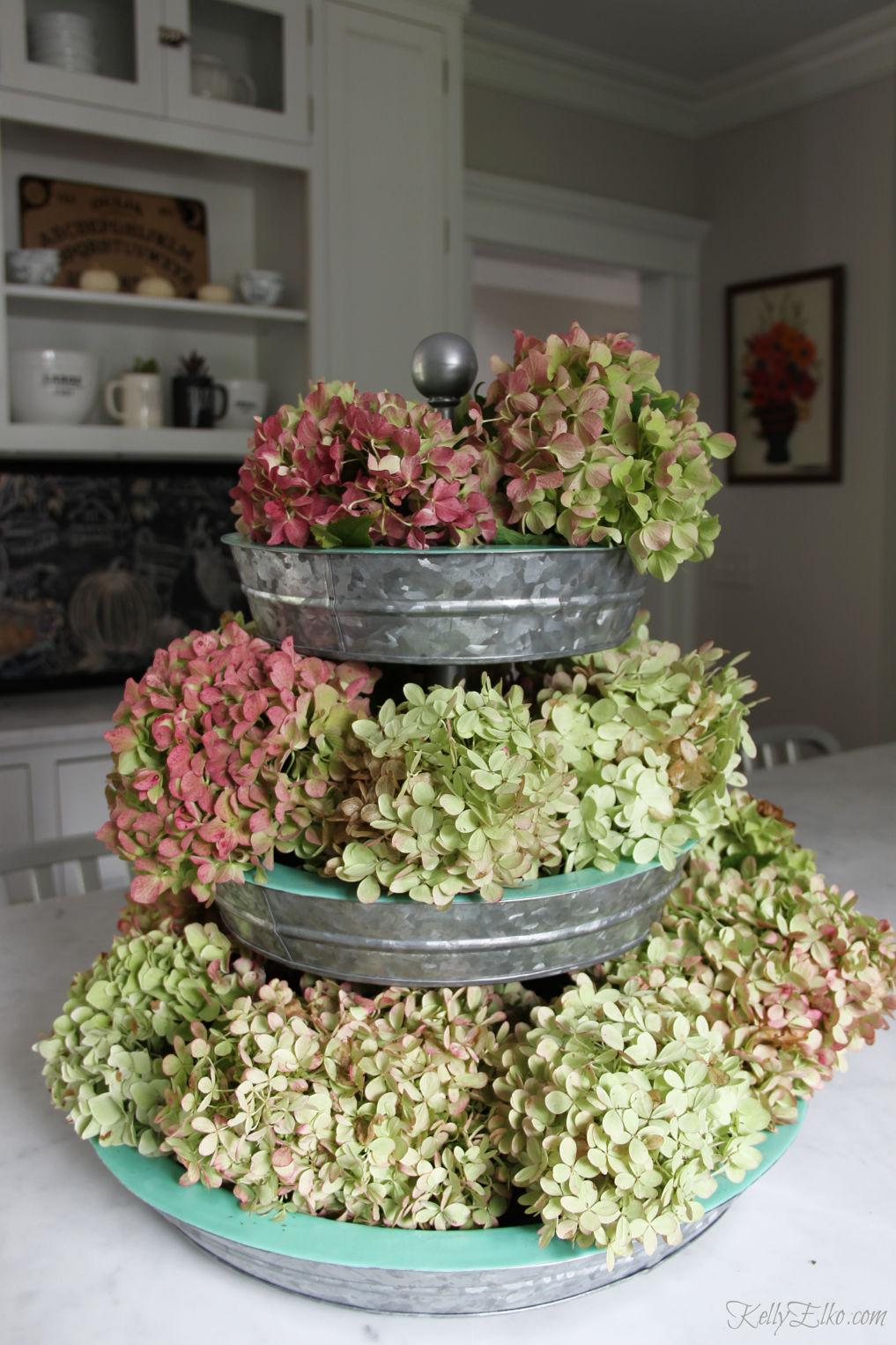Fall home tour - love this beautiful tiered tray displaying fall hydrangeas kellyelko.com #hydrangeas #fall #falldecor #tieredtray #kitchendecor