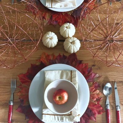 Fall Leaves Tablescape kellyelko.com #fall #falldecor #falltable #falltablescape #interiordecor #tablescape #fallleaves