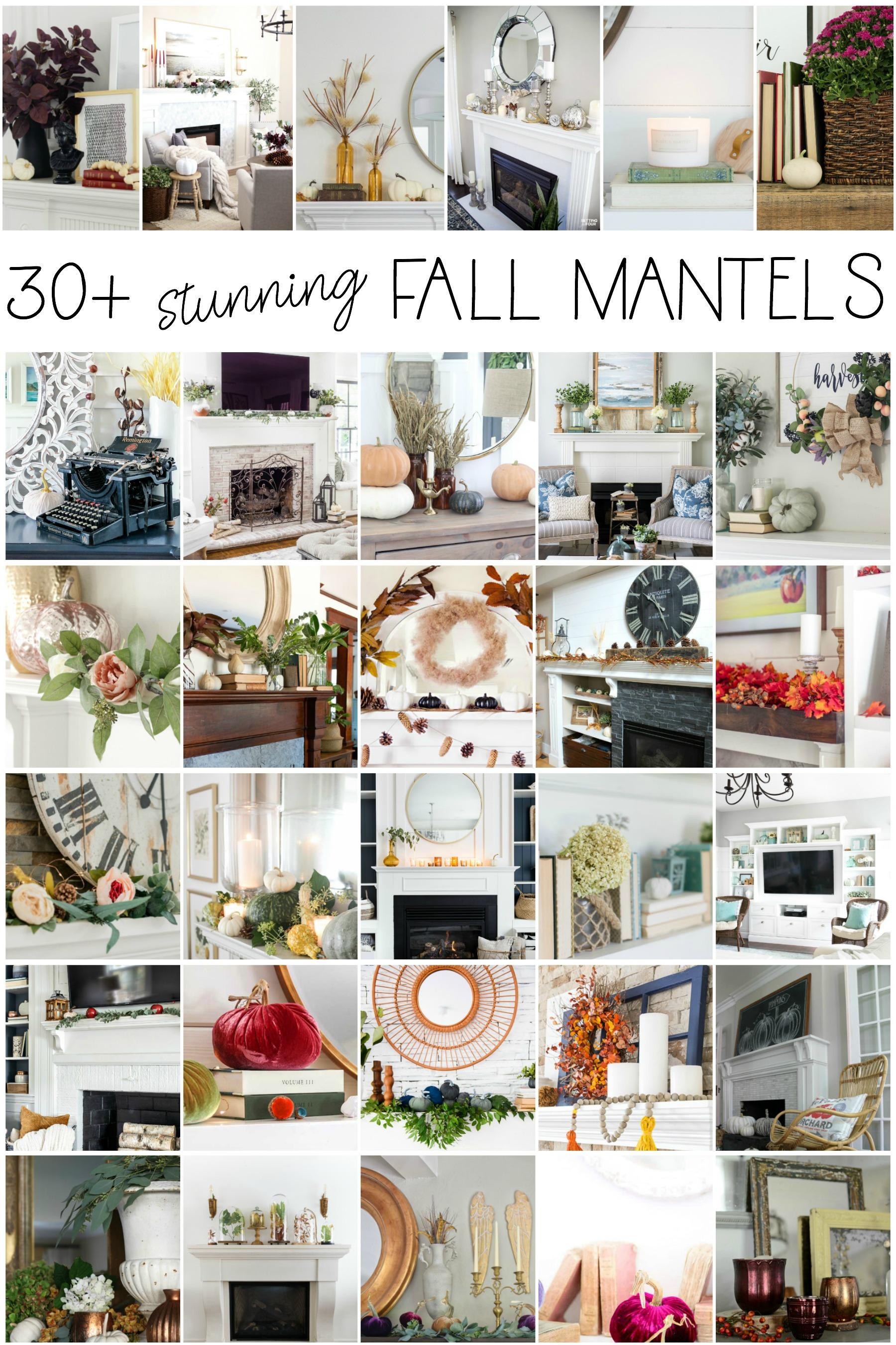 30 Stunning Fall Mantels kellyelko.com #fall #falldecor #mantels #fallmantels