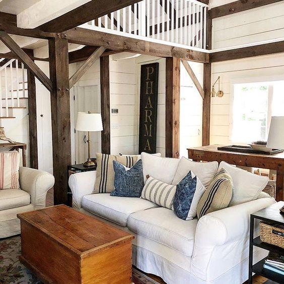 Eclectic Home Tour of The Cobbler Shop on Concord - tour this 1800's farm with original wood beams and shiplap walls kellyelko.com #farmhouse #farmhousedecor #interiordecor #interiordecorate #cottagestyle #hometour #housetour