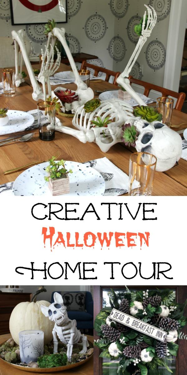Creative Halloween Home Tour - simple Halloween decorating ideas kellyelko.com #halloween #halloweendecor #halloweendecorations #falldecor #falldecorations #skeleton