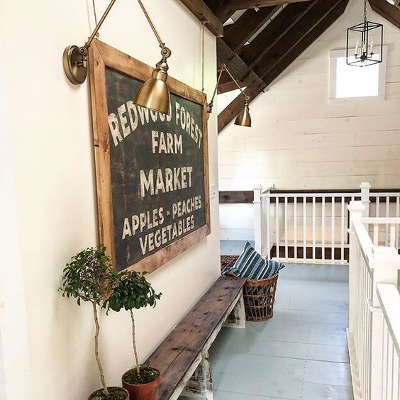 Eclectic Home Tour of The Cobbler Shop on Concord - love the large wood sign kellyelko.com #farmhouse #farmhousedecor #interiordecor #interiordecorate #woodsigns #cottagestyle #hometour #housetour