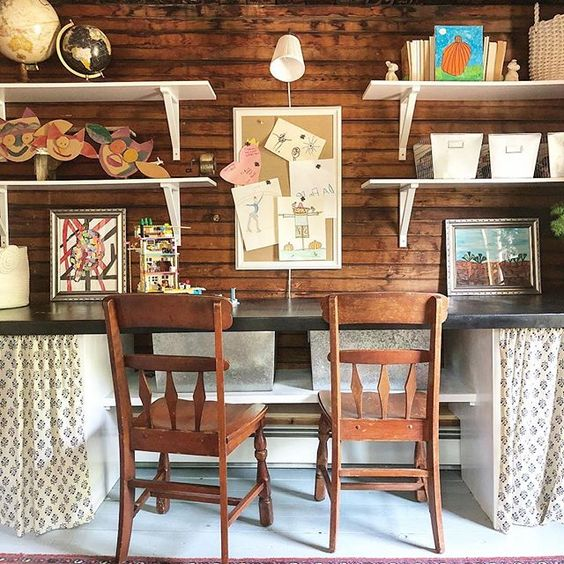 Eclectic Home Tour of The Cobbler Shop on Concord - rustic wood walls in this home office / art studio kellyelko.com #farmhouse #farmhousedecor #interiordecor #interiordecorate #homeoffice #artstudio #cottagestyle #hometour #housetour