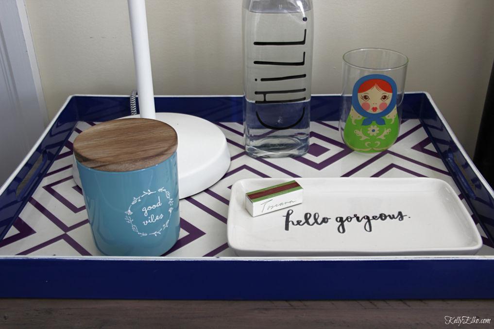 Guest bedroom nightstand necessities kellyelko.com #guestbedroom #bedroomdecor #bedroomaccessories #interiordecor #trays