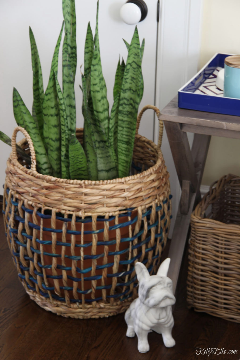 Snake plants are low maintenance and look great in a colorful basket kellyelko.com #plants #houseplants #bohodecor #bedroomdecor #baskets