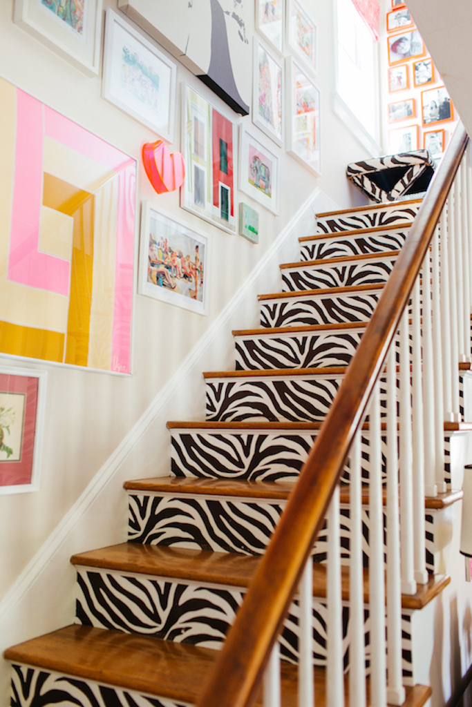 Eclectic Home Tour of Effortless Style Interiors - this is a color lovers dream home and I love the zebra staircase! kellyelko.com #staircase #colorlovers #interiordecor #decals #zebraprint #interiordesign