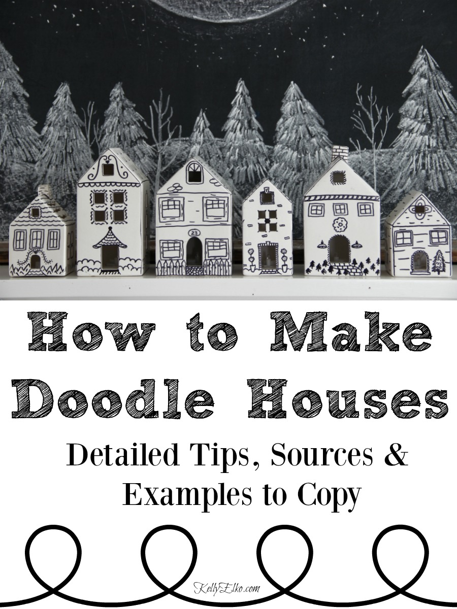 How to Make Doodle Houses - take those boring white houses to the next level! kellyelko.com #christmas #christmasdecor #christmasdecorations #diychristmas #diychristmasdecor #diychristmasgifts #farmhousechristmas #christmascrafts #diychristmas #christmashouses